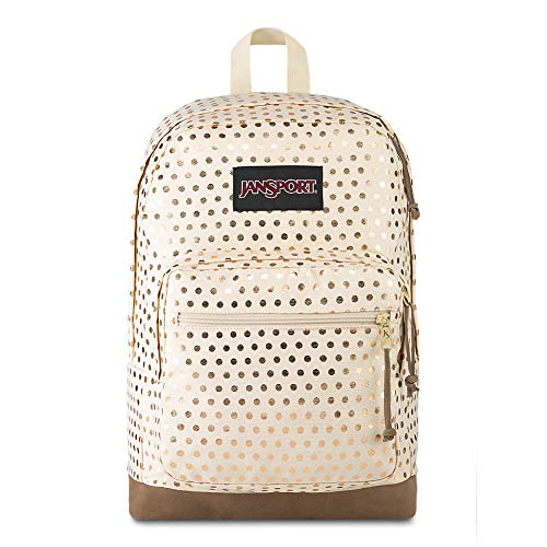 JanSport Right Pack Expressions 15 Inch Laptop Backpack - Any Occasion Daypack, Gold Polka Dot