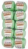 10 x 50g Strickwolle YarnArt Baby Cotton mit 50% Baumwolle, 500 Gramm Wolle einfarbig (kiwi 435)