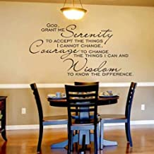 Bible Verse Quote Inspirational Wall Decal God Grant Me The Serenity Home Decor Christian Sticker (White,m)