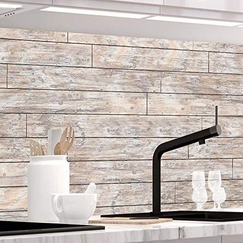 Küchenrückwand 1,5mm selbstklebend - PLANKEN - Hartkunststoff, alle Untergründe möglich, Spritzschutz, PREMIUM 60 x 400cm