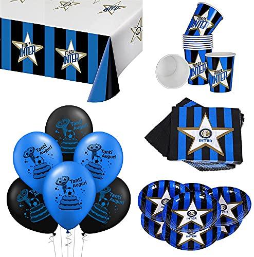 ocballoons Kit Festa Compleanno Party Inter 181pz per 40 Ospiti Set Addobbi e Decorazioni 40 Piatti 40 Bicchieri 40 tovaglioli 1 Tovaglia 20 Palloncini Bambino (40 Persone)