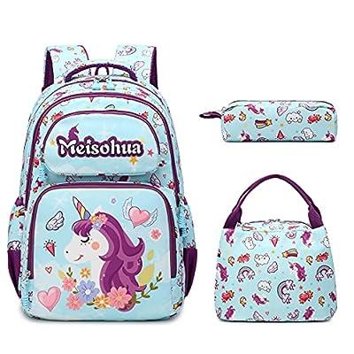 Meisohua Mochila Unicornio Niños Impermeable Mochila Escolar para Adolescente Pequeñas Mochilas Infantil Bolso para Chicas para La Escuela,Viajes,Intemperie Juego de 3
