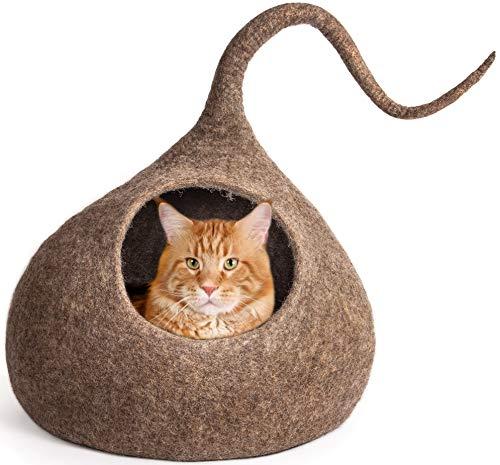 Meowfia Premium-Katzenbett im Höhlenstil (groß), umweltfreundlich, 100{2b0db6efb40eabb5c19d40afc5f26440196a367629c62a38732a6a8242cae360} Merinowolle, Betten für Katzen und junge Katzen