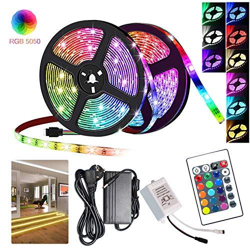 Hengda 10m LED Strip, LED Streifen 300LEDs 5050SMD, LED Bänder mit 24 Tasten IR Fernbedienung, LED Lichtleiste selbstklebend, für Party Küche Schlafzimmer Wohnzimmer Schränke Deko