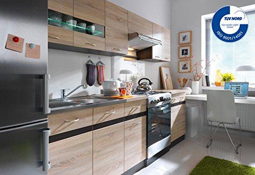 Küche 240cm von FIWODO® - ERWEITERBAR - günstig + schnell - Einbauküche Junona Line Set 240