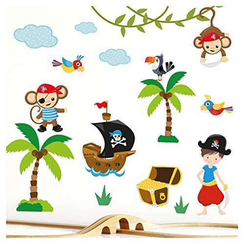 Little Deco DL214-5 Sticker mural pour chambre d'enfant Motif pirate garçon I 2 feuilles A4 I Sticker mural Bateau pirate pour chambre de bébé animaux singe