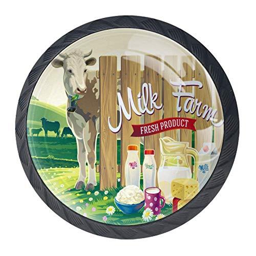 Azienda agricola Mucca e prodotti lattiero-caseari Manopole per cassettiera Maniglia a forma circolare Cerchio Maniglione in vetro per porta dell'armadio Armadio per armadio 4 pezzi