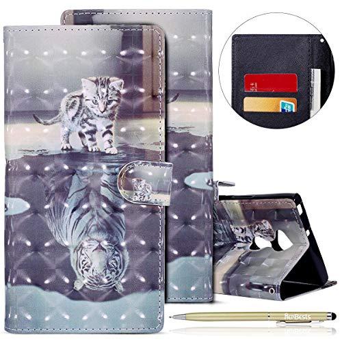 Herbests Kompatibel mit Sony Xperia XA2 Ultra Lederhülle Bling Glitzer Niedlich Bunt Muster Hülle Leder Tasche Klapphülle Schutzhülle Flip Hülle Cover Handytasche,Katze Tiger