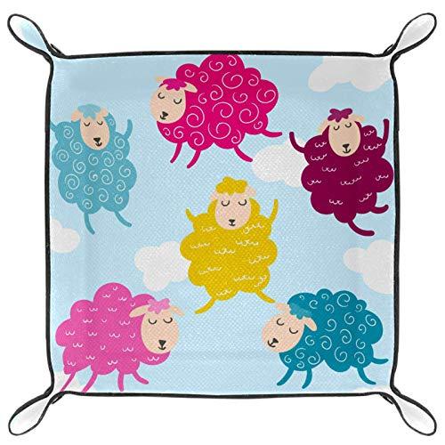 HANDIYA Faltbares Tablett aus PU-Leder für Uhren, Schmuck, Aufbewahrungsbox, buntes süßes Tier-Schaf