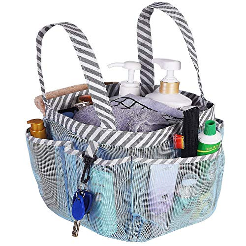 Haundry Mesh Shower Caddy Tote Portable College Dorm Shower Caddy Bag with 8 Large Pockets for Camping Gym Bathroom