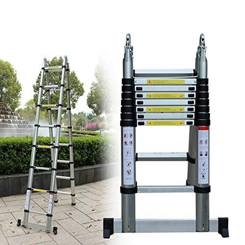 Anciun 5M Alu-Teleskopleiter Multifunktionsleiter Klappleiter Anlegeleiter Stehleiter Schiebeleiter max Belastbarkeit 150 kg, 2x8 Stufen (2,5M+2,5M)