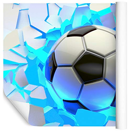 Fototapete - Wohnzimmer, Schlafzimmer - für Jungen Fußball 3D - 90cm X 60cm; Wandtapete Vlies 130g, Das Set enthält Klebstoff und Montageanleitung