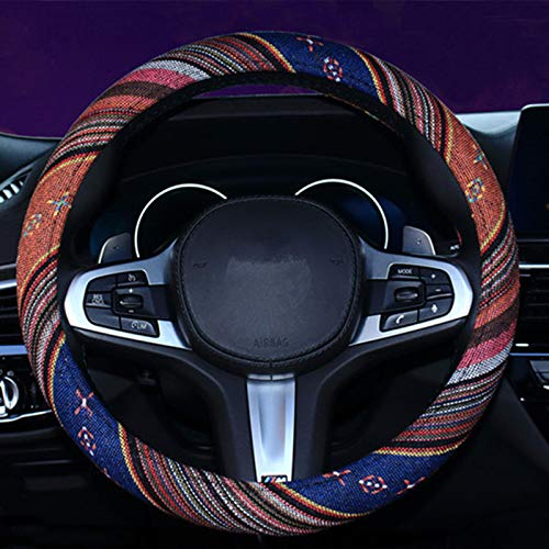 SHIAWASENA Car Steering Wheel Cover, Coarse Flax Cloth, Ethnic Style, Universal 15 Inch Fit, Anti-Slip Sweat-Absorbent (1#)