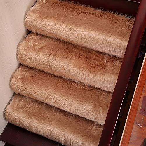 Insun Stufenmatten Faux Lammfell Schaffell Anti Rutsch Abwaschbarer Treppenstufen Matten Teppich Flauschig Weiche Nachahmung Wolle Treppenmatten Treppenschutz Braun 65x24cm 3 Stück