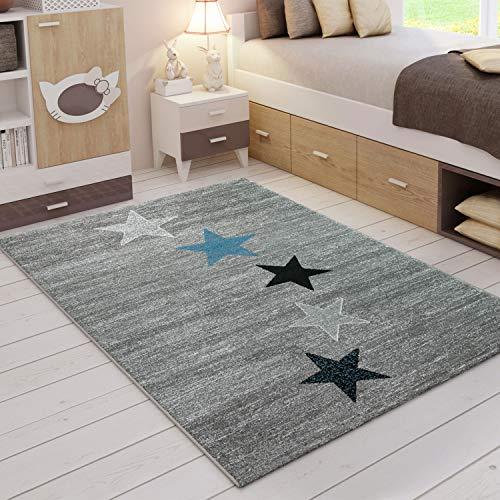 VIMODA Teppich Modern Schwarz Grau Türkis Kurzflor Stern Muster, Maße:120x170 cm
