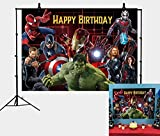 A-vengers Background Marvel Birthday Party Supplies Backdrop Superhero Theme Background Photography for Kids Birthday Banner Boys Birthday Party Decorations Banner Photo Booth Props (6x4FT)
