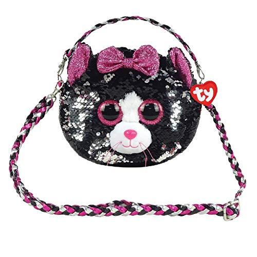Ty – Bolso bandolera de peluche con lentejuelas – Kiki le gato TY95120 – Negro/Rosa