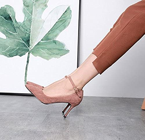 AJUNR Femmes Loisirs été été été Mode en Daim Chaussures Pointu 7 5cm des Talons Hauts Bouche Peu Profonde Mot Boucle avec Fine Poudre de Haricots ac3