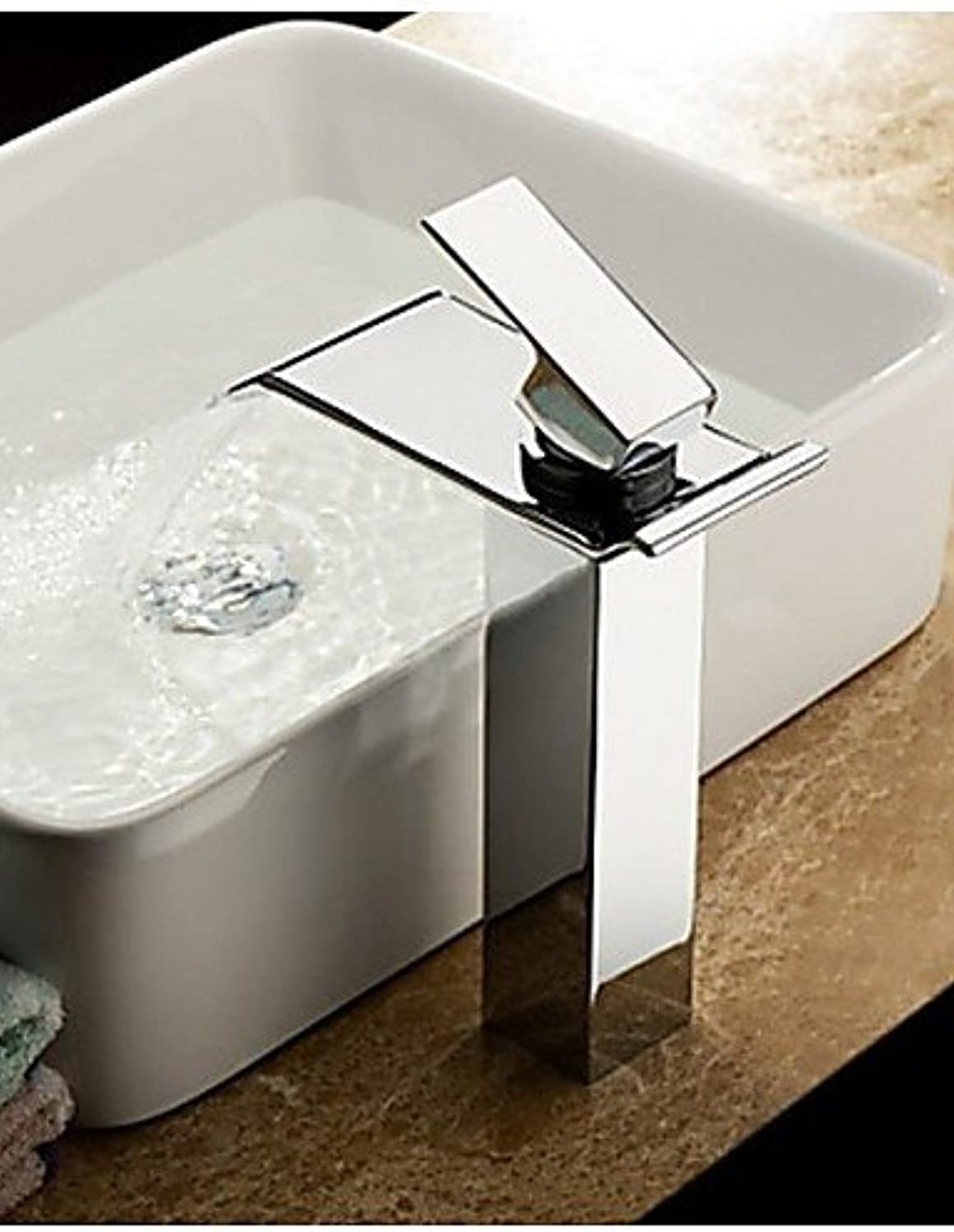 Contemporary Chrome Finish Waterfall Bathroom Sink Faucet(Tall)