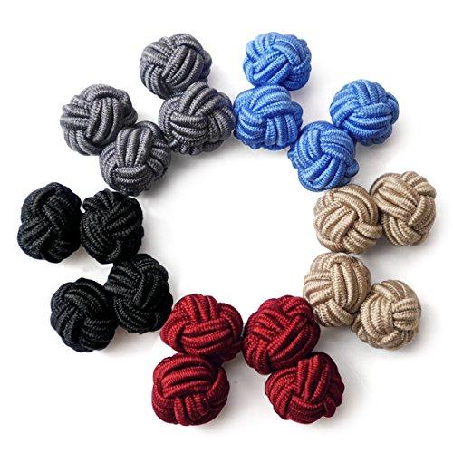 HONEY BEAR 5 Paar Herren/Damen Seide Stoff Knoten Seidenknoten Manschettenknöpfe Set, ideal für...