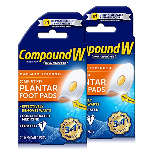 Compound W Maximum Strength One Step Plantar Wart Remover Foot Pads, 20 CT, 2 Pack