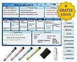 Wenbock: Magnetischer Wochenplaner im A3-Format auf Deutsch | Abwischbare Premium-Magnettafel für...