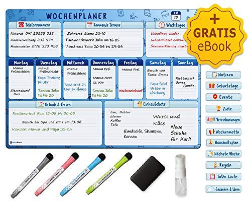Wenbock: Magnetischer Wochenplaner im A3-Format auf Deutsch | Abwischbare Premium-Magnettafel für den Kühlschrank oder Whiteboards | Komplett-Set mit Stiften, Schwamm, GRATIS eBook und mehr!