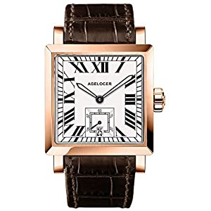 Agelocer 腕時計 メンズ スポーツウォッチ ブラック スチール デュアルタイム カレンダー付き 夜光 アナログ ギフト 腕時計 メンズ スクエア 秒ダイヤル AGL:3302D2