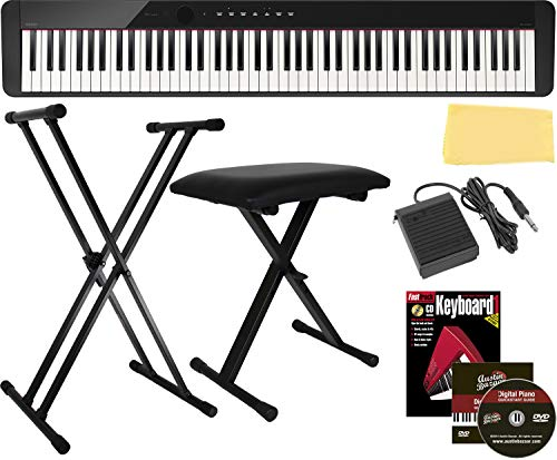 Casio Privia PX-S1000 Digital Piano - Black Bundle with Adjustable Stand, Bench, Sustain Pedal, Instructional Book, Online Lessons, Austin Bazaar Instructional DVD, and Polishing Cloth