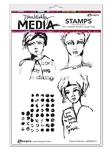 Ranger Positive Women Dina Wakley Media Cling Stamps, 6 by 9'