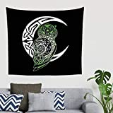 Yhjdcc Mandala Gradient Green Celtic Owl Moon Totem Wall Hanging Tapestry Ethnic Tapestry Room Divide 150cm x 200 cm