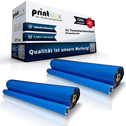 Print-Klex 2x Kompatible Thermorollen für Brother Fax 1010 Fax 1010 E Fax 1010 Plus Fax 1010 Series Fax 1020 Fax 1020 E PC201 PC202RF Thermo-Transfer-Rolle Office Plus Serie