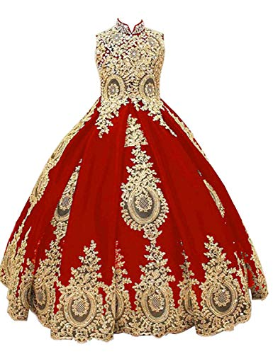 gsunmmw Gold Lace Flower Girl Dresses for Wedding Beaded Pageant Ball Gown First Communion Dress for Girls GS098, Red, 8