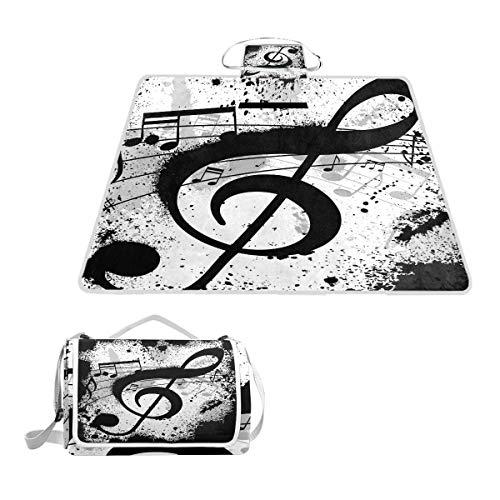 LZXO Jumbo Picknickdecke faltbar Retro Musik Noten Malerei groß 145 x 150 cm wasserdichte handliche Matte Tragetasche Kompakte Outdoor Matte mit Griff für Outdoor Reisen Camping Wandern Aktivitäten