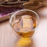 Tazza in Vetro a Forma Di Cuore Da 240 Ml, Doppia Parete Con Manico, Tazza Creativa Per Tè, Cioccolata Calda, Caffè E Cappuccino