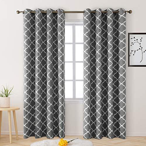 BYSURE Light Grey Blackout Curtains 52 x 84 Inch Length 2 Panel Sets, Thermal Insulated Grommet Curtains for Bedroom Window Living Room Sliding Glass Door, Moroccan Geo Pattern Printed (Light Gray)