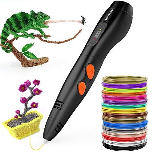3D Penna Stampa + Kit di Cinture in PLA a 16 Colori, Penna di Stampa 3D Meterk Regalo Creativo Fai-da-te Con Schermo LCD e Controllo Della Temperatura, Compatibile con Penna 3D PLA/ABS