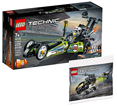 Collectix Lego 42103 - Juego de coche de carreras Lego Technic Dragster y helicóptero Lego Technic 30465 (bolsa de plástico)