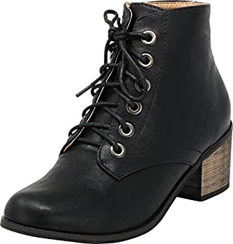 Cambridge Select Women s Closed Round Toe Lace-Up Chunky Stacked Block Heel Ankle Bootie,10 B M  US,Black Pu