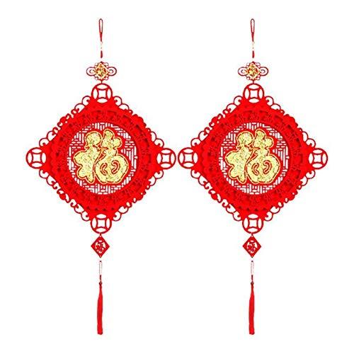 Bidema 2Pcs New Year Pendant Party Chinese Knot Decor Spring Festival Hanging Ornaments Blessing Ornaments Non-Woven Felt Cloth Pendant