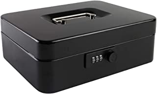 Cash Box with Combination Lock Safe Metal Money Box with Money Tray for Security Lock Box Black