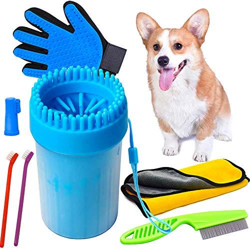 SPROUTER Kit De Limpiador De Patas Para Perros, Cepillos De Aseo Para Perros Y Gatos, Peine Antipulgas Y Cepillos De Dientes Para Mascotas, Toalla De Microfibra Súper Absorbente Para Mascotas