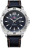 PKLG Relojes de cuarzo de los hombres Correa de cuero estilo de negocios impermeable ultra delgado relojes (C)