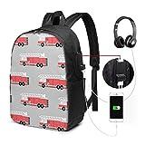 Sac à bandoulière Sac à Dos pour Ordinateur Portable de Voyage avec Camion de Dessin animé avec Port de Chargement USB 17 Pouces