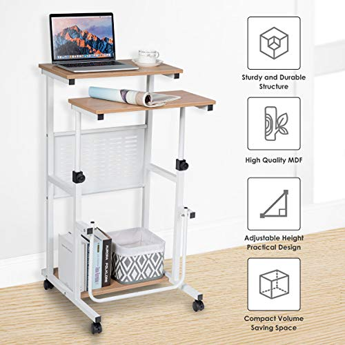 Tangkula Mobile Standing Desk, Height Adjustable Stand Up Desk Computer Workstation, Movable Computer Cart with 4 Rolling Wheels & Footrest, Suitable for Sitting or Standing (Oak)