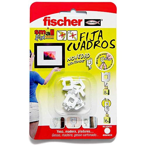 fischer 522206 Fijacuadros Blanco, Pared, Colgar Fotos, Fija Cuadros sin Agujeros, Blister de 8 Uds