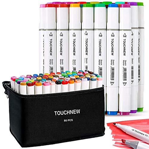 TOUCHNEW 80 Farbige Manga Graffiti Stifte Marker Pens, Twin Tip Textmarker Graffiti Pens Set für Kunstler Sketch Marker