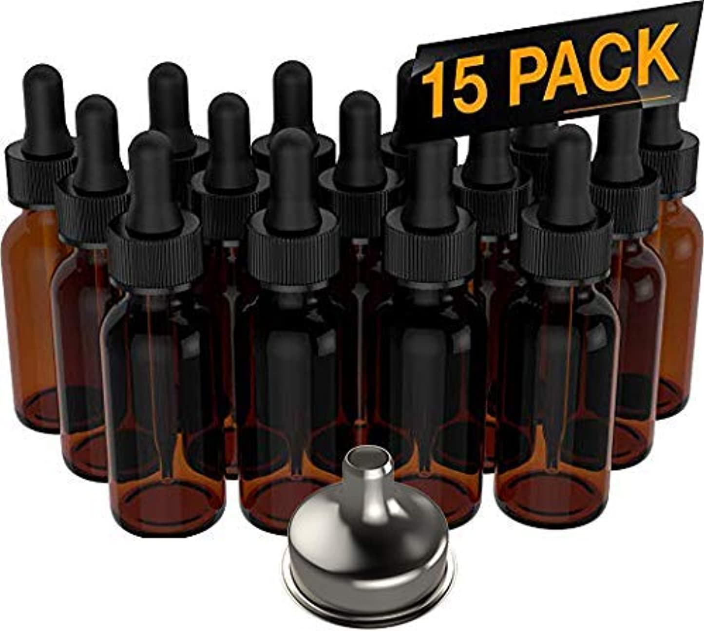 ヒステリック特異なミリメートル15 Pack Essential Oil Bottles - Round Boston Empty Refillable Amber Bottle with Glass Dropper [ Free Stainless Steel Funnel ] for Liquid Aromatherapy Fragrance Lot - (1 oz) 30ml [並行輸入品]