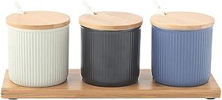 HYCy Boîte à épices boîte Organisateur de Stockage d'épices, récipient à Condiments Pot d'assaisonnement en céramique Cuis...