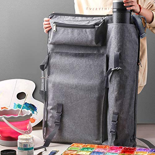 Artists Field Carry Bags Portfolio Carry Shoulder Bag Canvas Multifunctional Backpack Drawboard Bags for Drawing Sketching Painting Art Supplies (Grey)